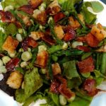 Bacon, Broad Bean and Asparagus Salad with Crispy Croutons